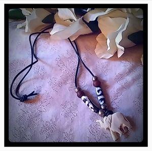 Vintage Carved Elephant & Brass Beads Necklace
